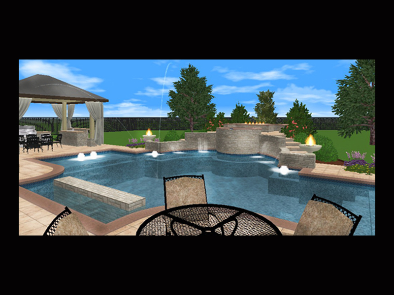 Indi scaping design landscape design katy tx for Pool design katy tx